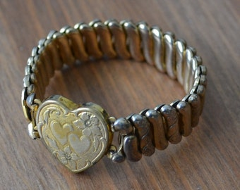 Lovely antique art deco gold filled sweetheart heart stretch bracelet