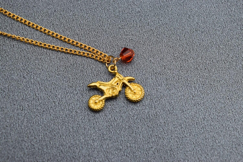 ktm orange and gold dirt bike necklace