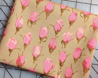 HALF YARD cut of Martha Negley - Rose Garden  - Rose Bud in Natural Light Brown background with pink buds