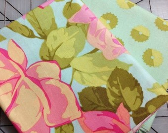 Martha Negley Fat Quarter Bundle  - Rose Garden - Rose Toss and Whirl in Bright  - Teal blue green with  green leaves and pink roses - #45
