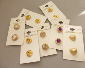 7 Vintage Streamline Buttons Cards Gold Metalized Plastic  B2007