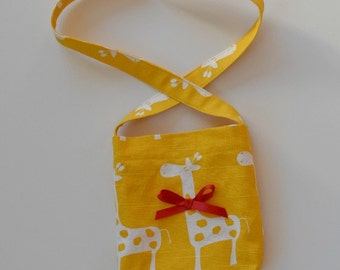 Toddler girl's shoulder bag, whimsical giraffes, shoulder or crossover strap, gift idea, toddler carry-all, bright yellow bag for toddler