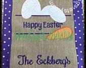 Burlap Happy Easter Bunny Garden Flag