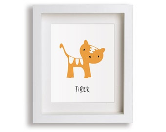 Tiger Nursery Art Print - Jungle Children's Decor, Baby's Nursery, Kids Wall Art, Playroom Decor, Zoo Animal Art, Toddler Room