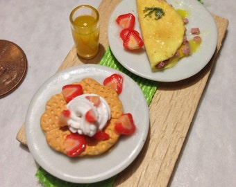 Miniature breakfast omelet and waffle