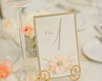 TABLE NUMBERS: Vintage Lace and Flower Table Number, Available in Any Style or Color, Can be Cohesive to your Invitations