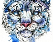 "Icy Snow Leopard- 8""x10"" Original Ink and Watercolor Endangered Cat Painting"