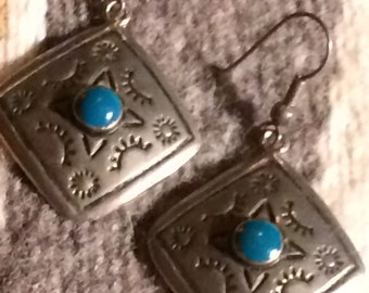 Vintage Native American Silver & Turquoise Earrings