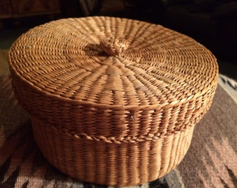 Vintage Handwoven Basket with Lid