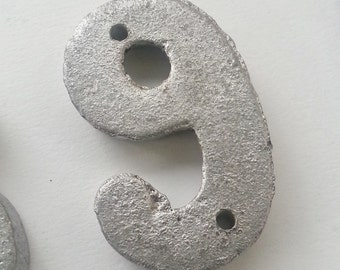 number 9 numeric 9 in casted aluminum BRICK LETTER