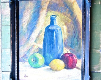 Signed Original Painting, Still Life in Ornate Wood Frame, Traditional Home Mid Century