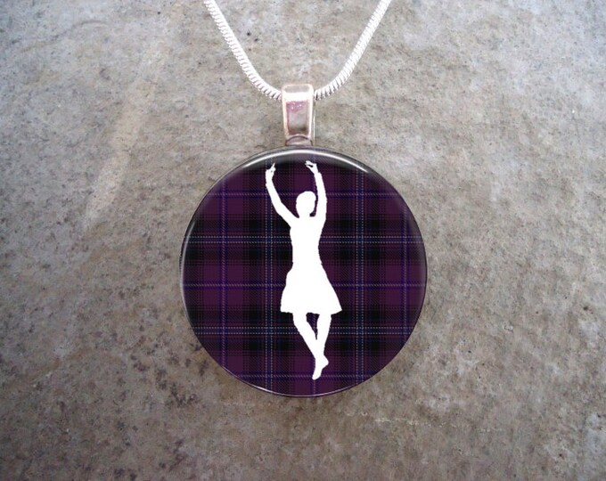 Celtic Jewelry - Glass Pendant Necklace - Highland Bagpipe Jewellery - Dancer on Violet Tartan