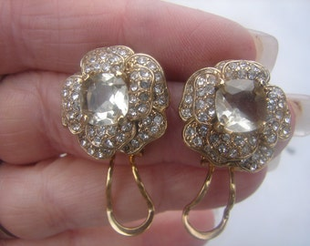 Vintage Gold Plated CZ Flower Earrings 883.