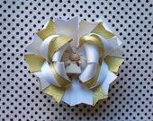 Ready To Ship Hairbow! Christmas Hairbow, Angel Hairbow, White And Metallic Gold Hairbow, Winter Hairbow, Girls Hairbow