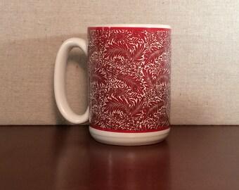 Red Victorian Design Mug, American Made 15 Ounce Mug, William Morris mug
