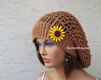 Womens slouchy beanie, womens winter accessories, knitting slouchy beret, teenage hat, brown slouchy beret, Valentines day gift