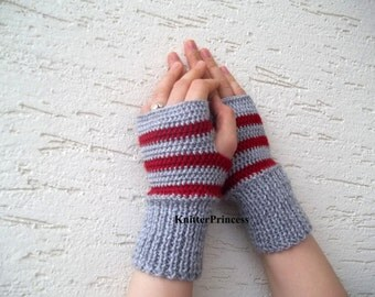 Womens fingerless gloves, gray, red striped, gift for her, birthday gift ideas, womens accessories