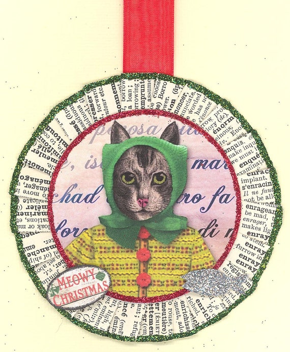 Cat Kitty Christmas Ornament vintage style