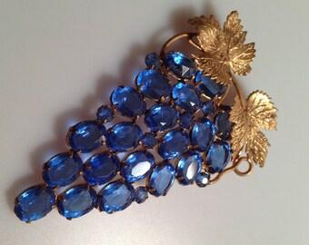 EDWARDIAN Brooch GILDED Brass & Czech Glass GRAPE Brooch Grape Cluster Pin Figural Pin Cluster of Grapes Czech Glass Czechoslovakia