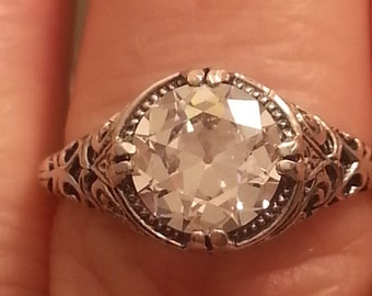 Engagement RIng -  Antique Reproduction Engagement Ring - Old European Cut Engagement Ring - Edwardian ring