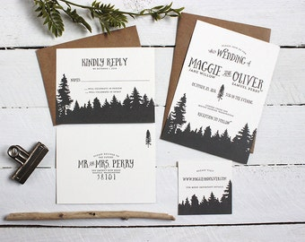 Rustic Woods Wedding Invitation Suite - Unique, Whimsical Wedding Invite Package - Custom Black and White Modern Wedding Invitations