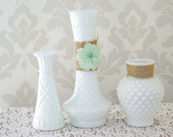 Shabby Chic Vases, Milk Glass, Vintage, Embellished Vases, Set of 3
