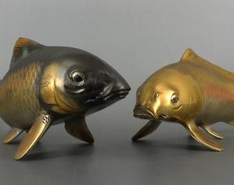 Japanese Fine Art Bronze Koi Carp Fish Pair of Black and Gold