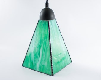 Stained Glass Pendant Light, Green and White, Hanging Lamp, Ceiling Fixture, Contemporary Lighting, Glass Shade, Stain Glass