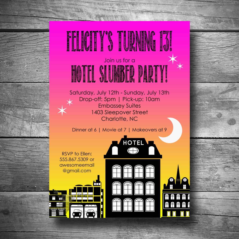 Hotel Birthday Invitation Hotel Slumber Party Invitation