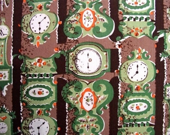 Vintage 36 inch wide Clock Print Fabric 3 yd