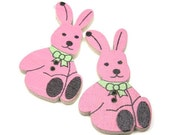 Bunny Buttons for Kids Clothing Painted Wood Party Pink 2 hole  2 Pack
