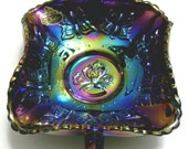 Fenton Butterfly Nappy - Double Handled - Iridescent Purple (carnival-like sheen)