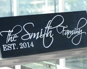 Personalized Family Name Sign Plaque Custom Made 8x22 Solid wood Family sign, wedding or anniversary gift 003