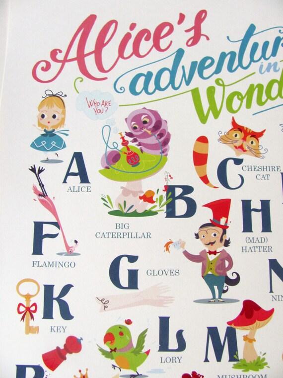 alice au pays des merveilles alphabet affiche 1260 x 1810
