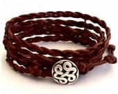 Leather Wrap Bracelet - Braided Natural Brown Leather - Celtic Knot Closure - Eternal Love Bracelet - Bohemian Boho Chic