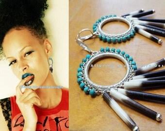 Porcupine Quill Earrings, Statement Earrings, Turquoise Earrings, Sterling Silver Earrings