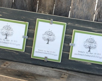 Picture Frame - Triple 5x7 - Distressed Wood - Holds 3 - 5x7 Photos - 2 Vertical and 1 Horizontal - Gray & Asparagus Green