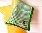 Clearance Vintage 70s Green Polka Dot Square Bandana Head Neck Scarf with Lady Bugs