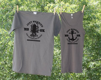 Honeymoon Cruise Shirts // Just Married // The Adventure Begins // Vintage Nautical - Set of 2 - TW