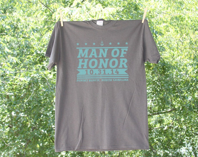 Man of Honor Stars and Stripes Wedding Party Shirt