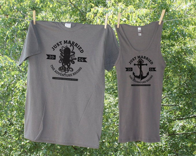 Honeymoon Cruise Shirts // Just Married // The Adventure Begins // Vintage Nautical - Set of 2 - TW