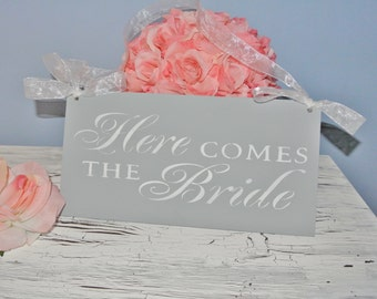 Here Comes The Bride Sign, Wedding Sign, Gray and White, Bridal Shower Gift, Wooden Sign