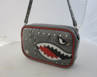 Glitter Bomber Handbag • Sparkle Vinyl Bag • Metal Flake Purse • Custom MADE to ORDER • Made in Usa WWII Airplane Shark Teeth Flying Tigers