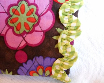Quilted Fabric Eyeglass case with green check rusching ric rac trim