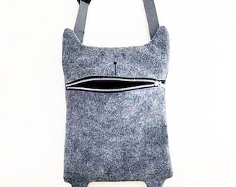 Hungry Kitty Messanger Bag / Cross Body Bag / Felt Messanger Bag / Cat Bag / Felt Bag
