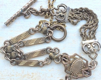 Antique Victorian Style 40's Bracelet Watch Chain Vest Chain Watch FOB Gold Tone FOB Seal Toggle