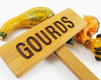 GOURDS Garden Marker, Cedar wood sign, Garden sign, Plant Marker, Garden Marker, Wooden garden Sign, Custom Garden Sign