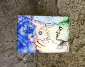 clearance sale aceo HAND THAT PET original art kimartist cat chat gato katze kitty team kitteh crazy funny humor brut blue green brown white