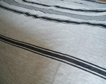 US full size duvet cover - protector -  Natural flax linen bedding - Black stripes, stripe. Bed linens, lin, linho, leinen, huopa.
