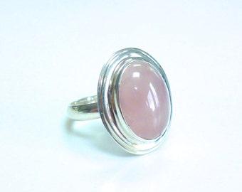 Rose Quartz Ring Silver Rose Quartz Ring Sterling Silver Pink Rose Quartz Oval Statement Ring January Birthstone